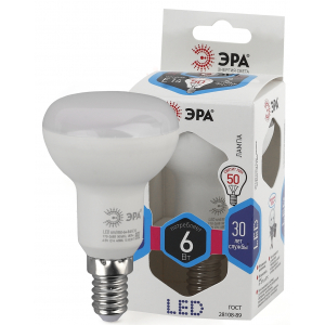 LED R50-6W-840-E14 ЭРА (диод, рефлектор, 6Вт, нейтр, E14) (10/100/3600)