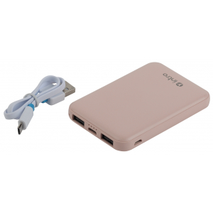 PB600 USB зарядки_25 Intro Power bank 5000 mAh розовые (50/3000)