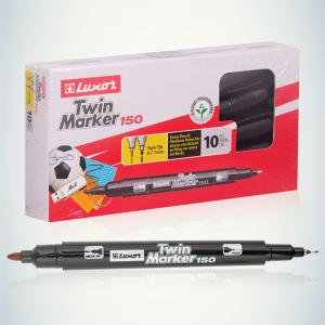 233834 Luxor Маркер перманентный  двухсторонний TWIN MARKER 150, ЧЕРНЫЙ пулевидный 0.7/1мм(3011) (144/1152/20736)