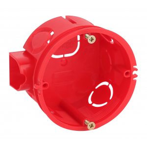 Коробка установочная ЭРА  KUTS-68-42-s-red усиленная для твердых стен с саморезами, стыковочные узлы красная IP20