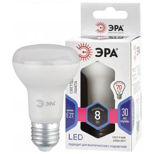 LED R63-8W-860-E27 ЭРА (диод, рефлектор, 8Вт, холод, E27), (10/100/1500)