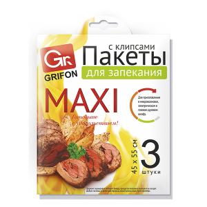 Grifon Пакеты для запекания MAXI, 45 х 55 см, с клипсами, 3 шт. в упак. (48/5184)