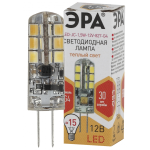 LED JC-1,5W-12V-827-G4 ЭРА (диод, капсула, 1,5Вт, тепл, G4) (100/1000/36000)