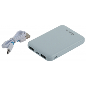 PB600 USB зарядки_25 Intro Power bank 5000mAh синие (50/3000)