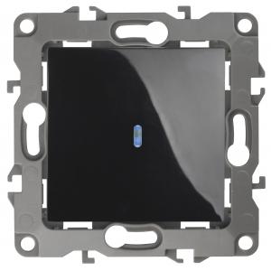 12-1102-06 ЭРА Выключатель с подсветкой, 10АХ-250В, IP20, Эра12, чёрный (10/100/3200)