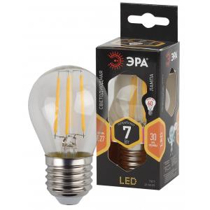 F-LED P45-7W-827-E27 ЭРА (филамент, шар, 7Вт, тепл, E27) (10/100/3600)