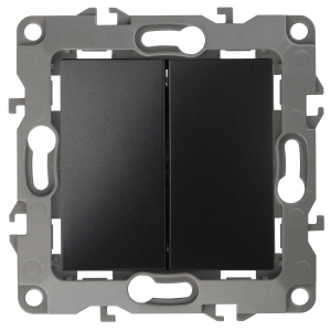 12-1104-05 ЭРА Выключатель двойной, 10АХ-250В, IP20, Эра12, антрацит (10/100/2500)
