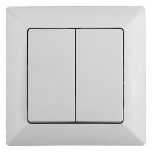 4-104-01 Intro Выключатель двойной, 10А-250В, СУ, Solo, белый (10/200/2400)