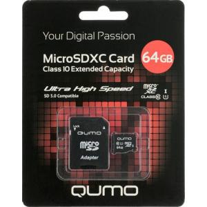 QUMO Micro SDXC 64 Gb Class 10 + adapt UHS-1 3.0 (25/7500)