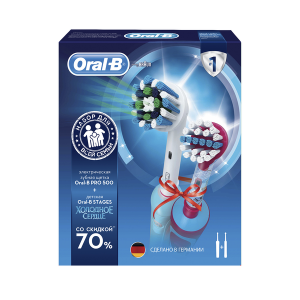 ORAL-B Э/щетка Pro 500/D16.513.U + Vitality Kids D12.513K Frozen (3/240)