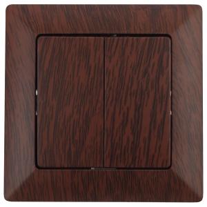 4-104-10 Intro Выключатель двойной, 10А-250В, СУ, Solo, венге (10/200/2400)