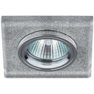 DK8 CH/SHSL Светильник ЭРА декор стекло квадрат MR16,12V/220V, 50W, хром/серебряный блеск (50/2100)