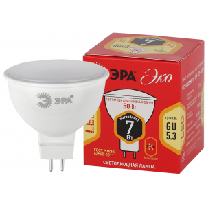 ECO LED MR16-7W-827-GU5.3 ЭРА (диод, софит, 7Вт, тепл, GU5.3) (10/100/4000)