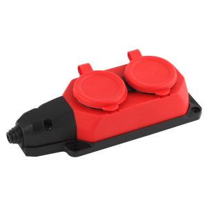 K-2e-RED-IP44 ЭРА Колодка каучуковая с/з 2гн 16A IP44 красная (12/120/720)