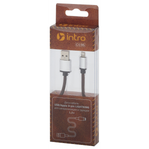 CI195 Кабели_25 Intro USB-Apple 8pin lightning, leather,1,2м, коричневый (100/200/2400)