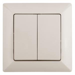 4-104-02 Intro Выключатель двойной, 10А-250В, СУ, Solo, сл.кость (10/200/2400)