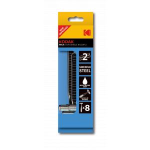 Одноразовые станки для бритья Kodak  30419957/N мужские 2 лезвия увлажняющая полоска прорезиненная ручка 8 станков