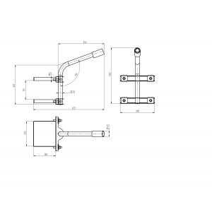 SPP-AC4-0-350-048 ЭРА Кронштейн  на опору с 2 хомутами 625*460*280,   d 48 (6/48)