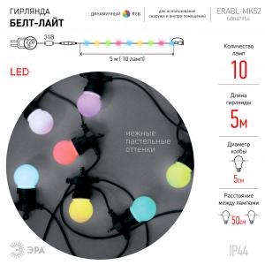 ERABL-MK52 ЭРА Гирлянда ЭРА Белт Лайт набор 5 м, 10 RGB LED ,дин.реж, с трансформ.каучук,24В,IP44 (6