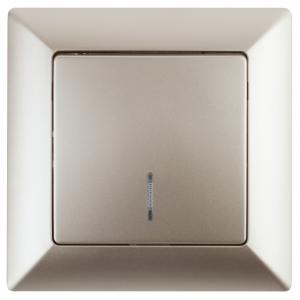 4-102-04 Intro Выключатель с подсветкой, 10А-250В, СУ, Solo, шампань (10/200/2400)