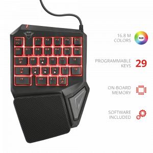 22881 Клав Trust Игровая дополнительная клавиатура GXT 888 ASSA 29-кнопок память (20/240)