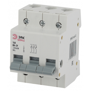 SIMPLE-mod-63 ЭРА SIMPLE Выключатель нагрузки 3P 16А ВН-29 (4/60/1200)