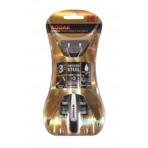Бритвенные системы Kodak  30419995 Бритва мужская, 3 лезвия, плавающая головка, прорезиненная ручка и 3 сменные кассеты