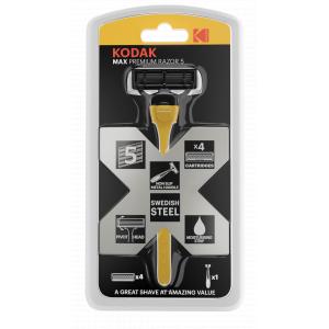 Бритвенные системы Kodak  30422032 Бритва мужская 5 лезвий прорезиненная ручка плавающая головка 4 сменные кассеты