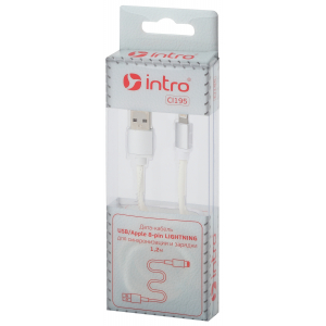 CI195 Кабели_25 Intro USB-Apple 8pin lightning, leather,1,2м, белый (100/200/2400)