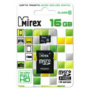 Mirex Micro SDHC 16 Gb Class 10 + adapter (25/6250)