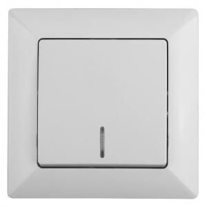 4-102-01 Intro Выключатель с подсветкой, 10А-250В, СУ, Solo, белый (10/200/2400)