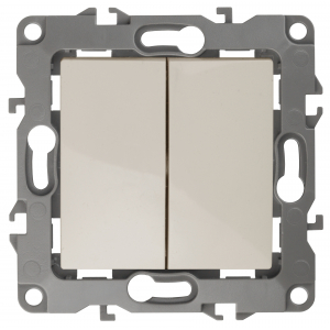 12-1104-02 ЭРА Выключатель двойной, 10АХ-250В, IP20, Эра12, слоновая кость (10/100/3200)