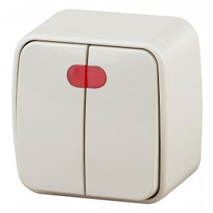 3-105-02 Intro Выключатель двойной с подсветкой, 10А-250В, IP20, ОУ, Polo, сл.кость (18/360/4320)