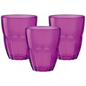 Bormioli Rocco ERCOLE стаканы 230 мл, фуксия, набор 3 шт. цв.рукав (6/390)