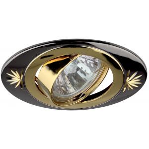KL4A GU/G Светильник ЭРА литой овал пов. с гравировкой MR16,12V/220V, 50W черный металл/золото (5/10