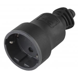R4(B) ЭРА Розетка кабельная c/з 16A прямой ввод черная (10/200/4000)