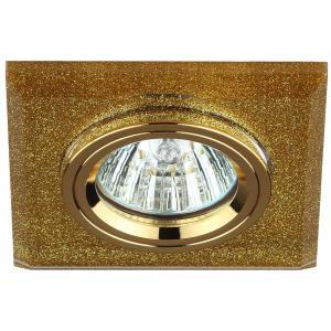 DK8 GD/SHGD Светильник ЭРА декор стекло квадрат MR16,12V/220V, 50W, золото/золотой блеск (50/1750)
