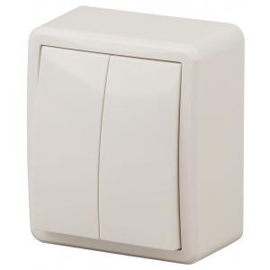 11-1204-02 ЭРА Выключатель двойной, 10АХ-250В, IP20, ОУ, Эра Эксперт, сл.кость (16/160/3200)