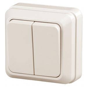 2-104-02 Intro Выключатель двойной, 10А-250В, IP20, ОУ, Quadro, сл.кость (10/200/3600)