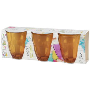Bormioli Rocco ERCOLE стаканы 230 мл, оранжевые, набор 3 шт. цв.рукав (6/390)