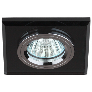 DK8 CH/BK Светильник ЭРА декор стекло квадрат MR16,12V/220V, 50W, хром/черный (50/2100)