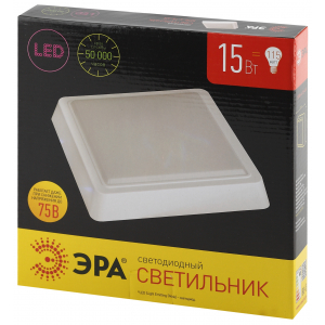 SPB-4-15-4K ЭРА Cветильник светодиодный IP20 15Вт 1200Лм 4000К 190мм КВАДРАТ LED (20/420)