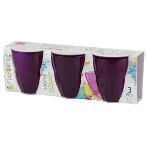 Bormioli Rocco ERCOLE cтаканы 230 мл, фиолетовые, набор 3 шт. цв.рукав (6/390)