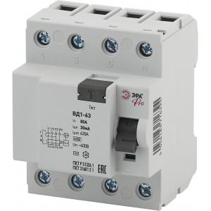 ЭРА Pro Устройство защитного отключения NO-902-64 УЗО ВД1-63 3P+N 80А 30мА (45/810)