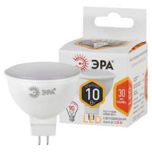 LED MR16-10W-827-GU5.3 ЭРА (диод, софит, 10Вт, тепл, GU5.3) (10/100/4000)