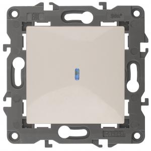 14-1102-02 ЭРА Выключатель с подсветкой, 10АХ-250В, IP20, Эра Elegance, сл.кость (10/100/3000)