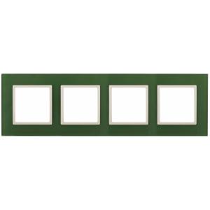 14-5104-27 ЭРА Рамка на 4 поста, стекло, Эра Elegance, зелёный+сл.кость (5/25/900)