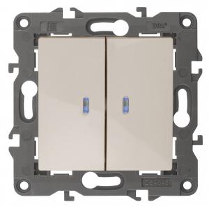 14-1105-02 ЭРА Выключатель двойной с подсветкой, 10АХ-250В, IP20, Эра Elegance, сл.кость (10/100/160
