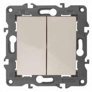 14-1104-02 ЭРА Выключатель двойной, 10АХ-250В, IP20, Эра Elegance, сл.кость (10/100/3200)