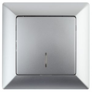 4-102-03 Intro Выключатель с подсветкой, 10А-250В, СУ, Solo, алюминий (10/200/2400)